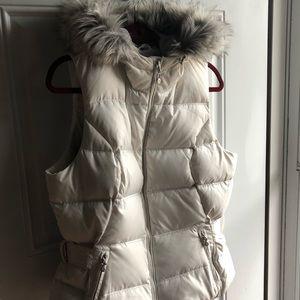 Eddie Bauer 650 Power Down Faux Fur Hooded Vest